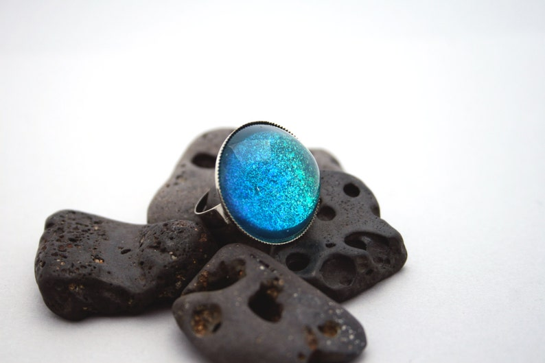 Magical Blue Lagoon  Blue Green and Silver Mermaid Ring  image 0