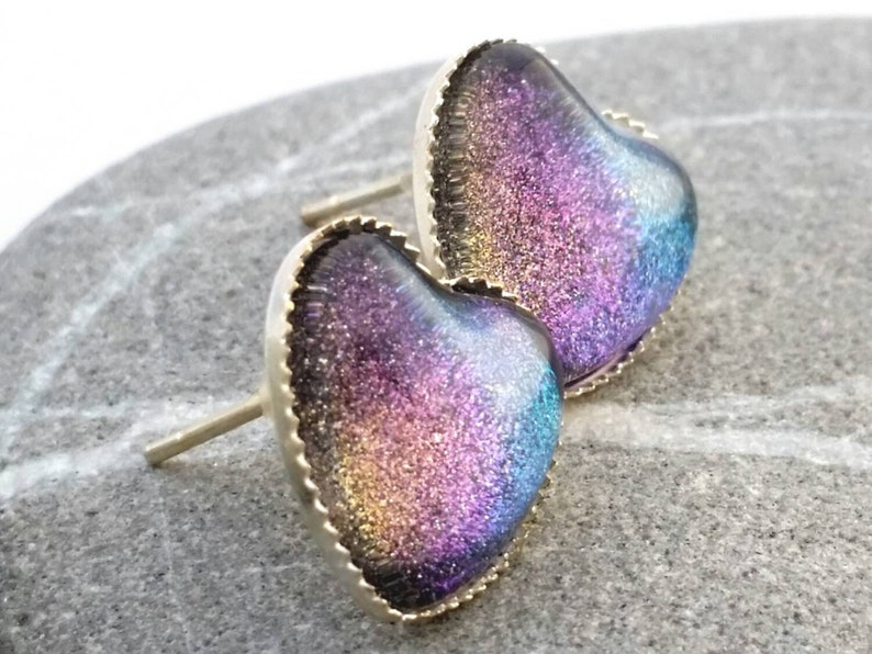 Rainbow Mist Earrings  Rainbow Heart Earrings  Heart Glitter image 0