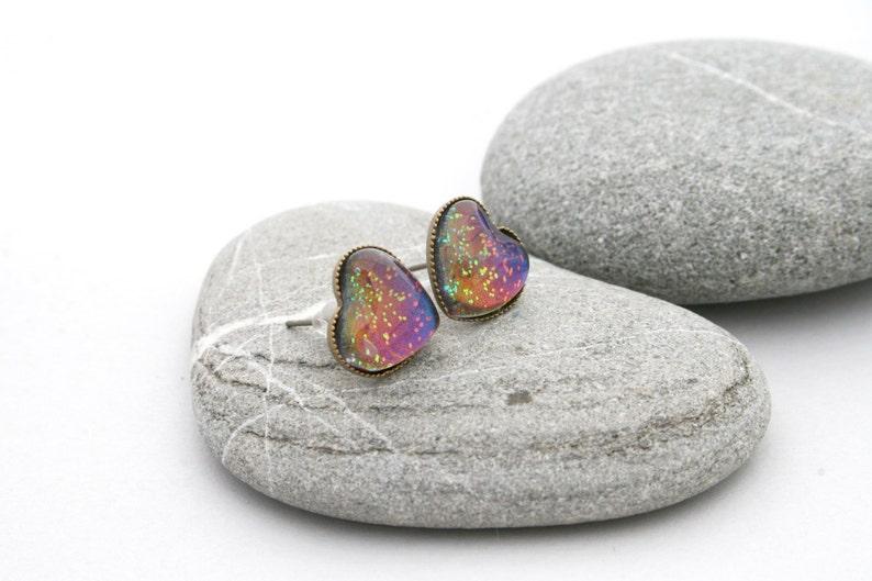 West Coast Sunset Earrings  Rainbow Heart Earrings  Heart image 0