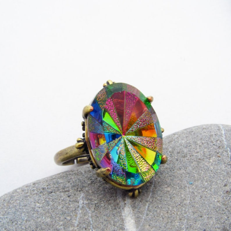 Gothic Carnival Glass Rainbow Ring  Faceted Vitrail Stone image 0