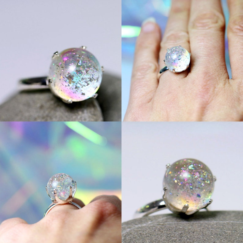 Ice Bubbles Frozen Ring  Holographic Jewelry  Irisdescent image 0