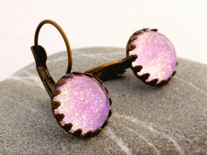 Pink Shimmer Dangle Earrings  Pink Cotton Candy Earrings  image 0