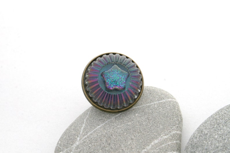 Sea Urchin and Starfish Ring  Glitter Sea Urchin Ring  Hand image 0