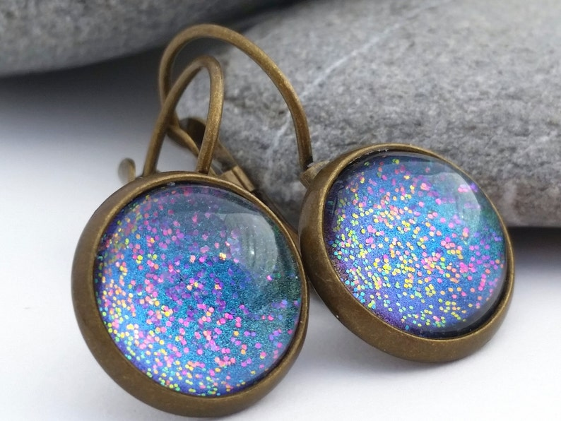 Blue Abyss  Rainbow Glitter Earrings  Color Shifting Ocean image 0
