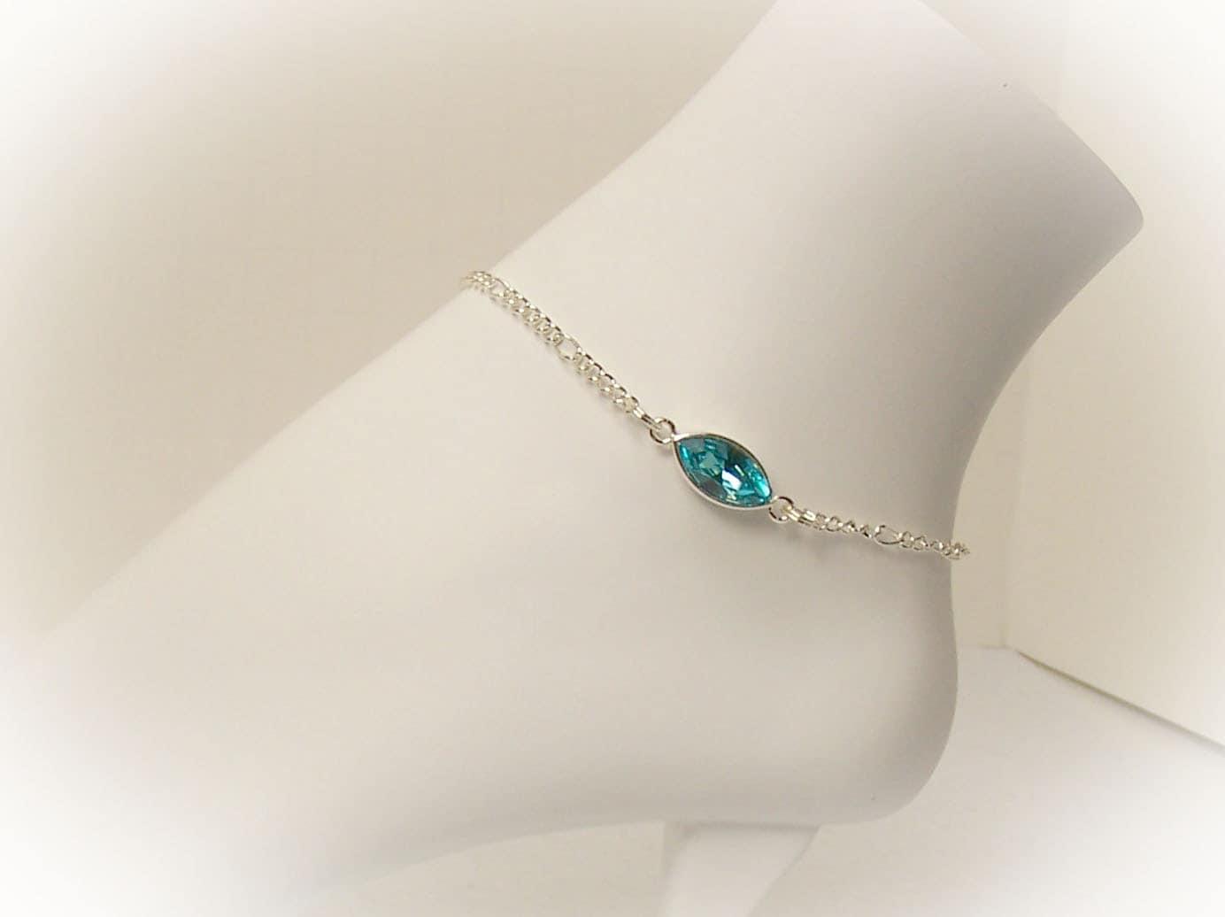 Crystal Anklet Ankle Bracelet Silver Anklet With Turquoise Swarovski