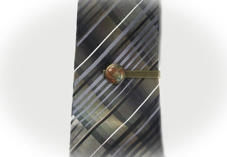 17016 Tie Clip Bar Gemstone Tie Clip Bar With Natural Crazy Lace Agate Gemstone Cabochon Setting Gemstone Tie Tac Tie Clip