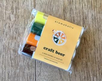 Craft Beer-flavored Lip Balms Set - IPA, Stout, Hefeweizen & Saison lip balm 4-pack - craft beer gift set