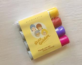 Stay Golden lip balm set - Golden Girls-inspired lip balm set - Dorothy, Sophia, Blanche and Rose lip balms