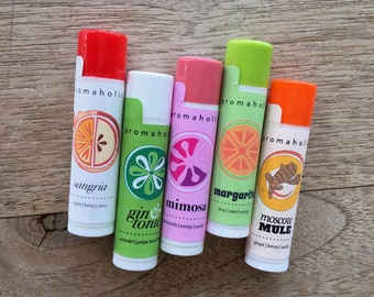 Any 5 cocktail-flavored lip balms - stocking stuffers -  Margarita, Moscow Mule, Sangria, beer, wine lip balms, you choose flavors