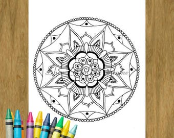 Mandala Coloring Pages Colouring Easy Page Adult