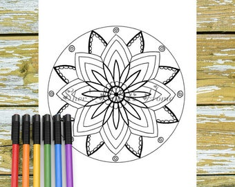 Flower Mandala Art Floral Coloring Pages Colouring Digital Download
