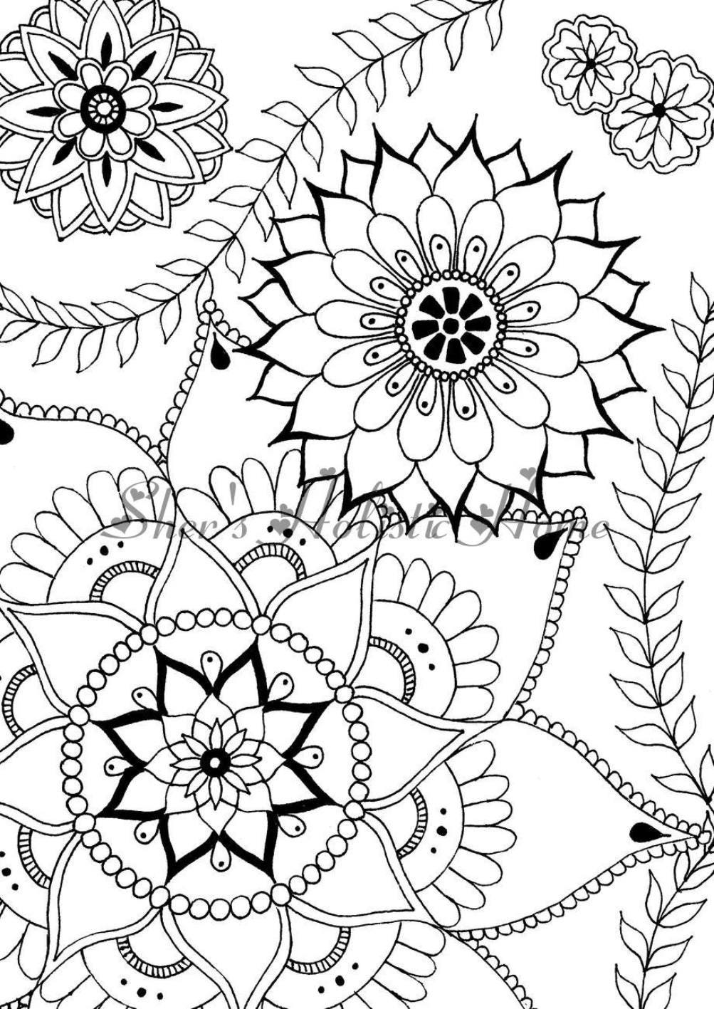 Flower coloring page mandala coloring page flower drawing | Etsy