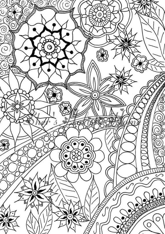 Flower drawing, flower mandala, abstract flowers, mandala drawing,  zentangle drawing, kids coloring page, mandala coloring, colouring pages
