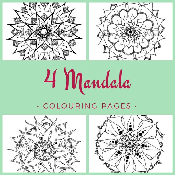 Mandala coloring pages, flower coloring page, coloring pages, mandala drawing, mandala art, set of four prints, kids colouring, rainy day