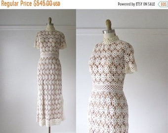 SALE A Case of You / 70s wedding dress / vintage 1970 crochet dress