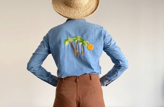 vintage Levis chambray shirt | 1970s denim shirt
