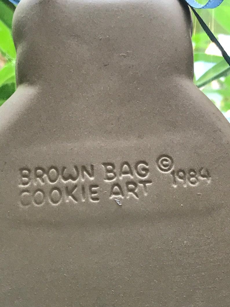 Vintage Teddy Bear Clay Cookie Mold Brown Bag Cookie Art 1984