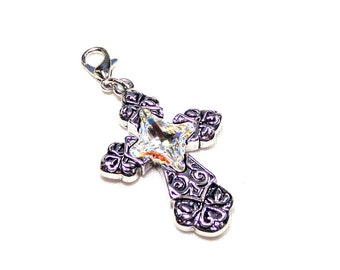 8ad48fc68502 Ornate Crystal Cross Charm with Swarovski Crystal Accents
