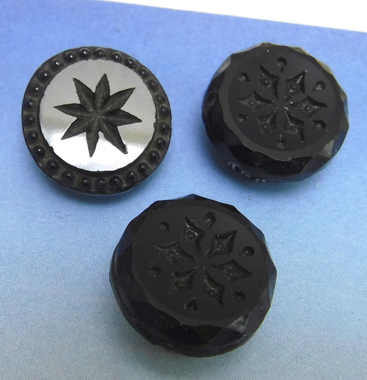 Victorian Buttons Antique 3 Ornate Flower Black 1/2 Glass
