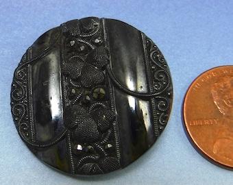 Victorian Button Black Antique Button 1 inch Large Glass Button Floral Button 36