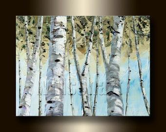 Birch Forest Landscape Painting Oil on Canvas Textured Palette Knife Modern Original Tree Art 12X16 by Willson Lau