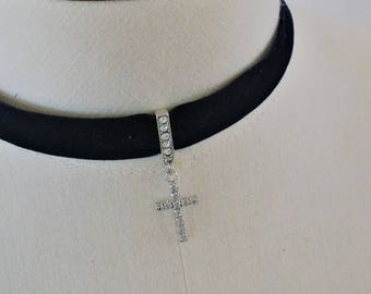 Cross Black VELVET Choker Necklace with adjustable chain (S, M, L size)
