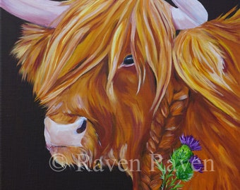 Dear Thistle, Highland Cattle, Scottish,  - 40 x 50 cm - OIL on linen Canvas
