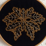Plant Dyed Autumn Oak Leaf Greenman Embroidery