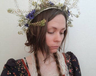Dried Flower Crown - Cress and blue flowers