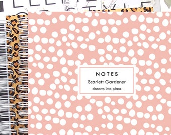 Personalized Notebook Spiral - A5 Notebook Lined or Blank with Spotty Notebook Cover in 24 Colors and Personalized with Name