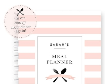 Personalized Meal Planner Spiral Bound Planner Blank Recipe Book Journal Recipe Cards Personalized with Name Gift for Cook or Bridal Shower
