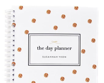 Daily Planner Personalized – Dateless Planner Spiral Bound and in Your Choice of 24 Color Combinations, Glitter Polka Dot Planner A5