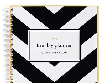Daily Planner Personalized – Dateless Planner Spiral Bound and in Your Choice of 24 Color Combinations, Chevron Planner A5