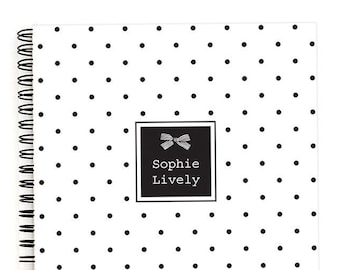 Personalized Notebook Spiral - A5 Notebook Lined or Blank with Polka Dot Bow Notebook Cover in 24 Colors and Personalized with Name
