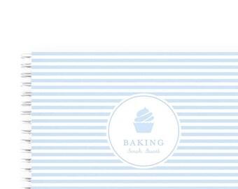 Blank Recipe Book Personalized - Stripe Blue Cupcake | Custom | Meal Planner | Monogram |Bridal Shower | Journal | Cooking | Keepsake