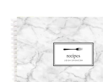 Personalized Recipe Book Marble Cover– Spiral Recipe Book with Blank Recipe Sheets and Personalized with Name Makes Ideal Gift for Cook