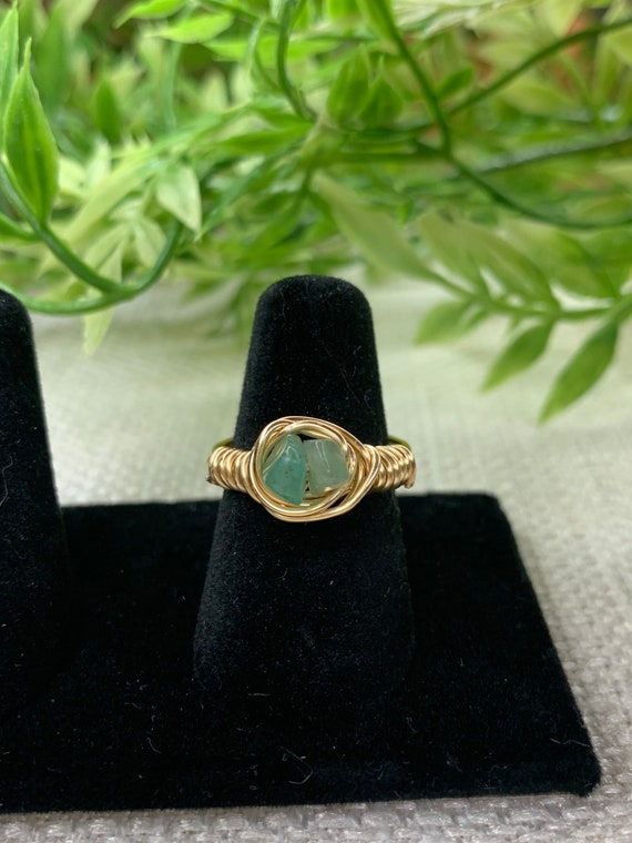 Green Double Crystal Ring