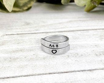 Custom Initials Ring, Personalized Monogram Hand Stamped Jewelry, Friends, Couples, Unisex, Valentine, Bridesmaid, Proposal, Anniversary
