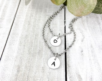 Custom Hand-Stamped Initials Two-Tier Pendant Necklace | Two-Tier Necklace | Hand-Stamped Pendant | Personalized Gift