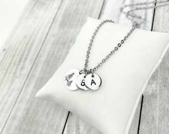 Custom Family Tree Hand-Stamped Initial Pendant Necklace | Custom Initial Necklace | Initial Pendant Necklace | Family Keepsake Gift
