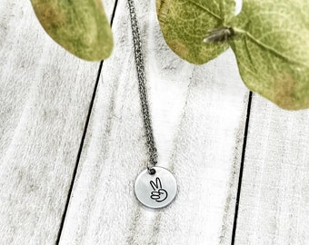 Peace Necklace, Peace Sign Necklace, Silver Peace Sign, Music Festival Jewelry, Yoga Jewelry, Boho Jewelry, Boho Necklace, Yoga Gift