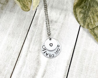 HAND STAMPED PENDENT - Initials Necklace - Women Jewelry - Charm Steel Necklace - Family Disc Necklace - Aluminum Necklace