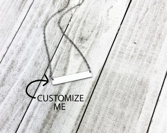 Custom Bar Necklace, Personal Necklaces, Thin Bar Necklace, Personalized Necklace For Women, Couples Necklace, Anniversary necklace