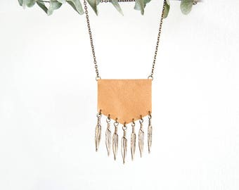 Boho Fringe Necklace - Natural Tone Leather and Brass Metal Feather Fringe - Bohemian - Gypsy - Southern - Tribal Inspired - Made to Order
