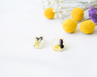 Pressed Flower Post Earrings - Brass Triangle Hexagon - Framed Real Flowers - Pansy Queen Anne's Lace - Botanical Jewelry - Ready to Ship