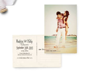 """Save the Date Post Card, 4x6, Save the Date, the """"Madelyn 3"""""""