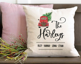 Christmas pillow, Personalized name pillow, Christmas wedding gift for newlyweds, Pillow cover, Christmas farmhouse decor, Red truck, pc0004