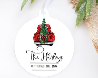 Christmas ornament, 2021 christmas ornament, Family christmas ornament, Personalized christmas ornament,  Red truck ornament, Family Names