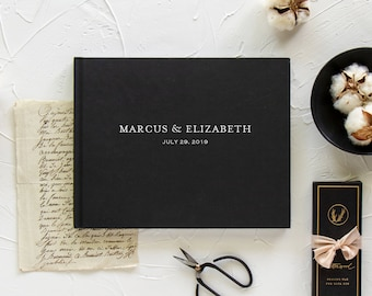 Black wedding guestbook, Custom landscape guest book, Blank or lined sign in book, Optional gold foil, Various cover colors