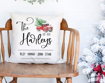Christmas pillow, Personalized name pillow, Christmas wedding gift for newlyweds, Pillow cover, Christmas farmhouse decor, Red truck, pc0005